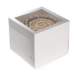 35cm Square White Cardboard Cake Gift Box with Window and Lid