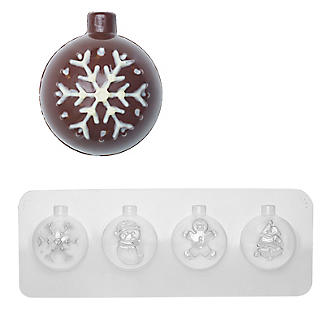 Christmas Bauble Chocolate Mould - Makes 4 Hollow Baubles
