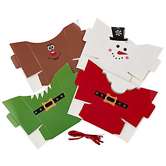 Christmas Treat Boxes with Presentation Bags – Pack of 4