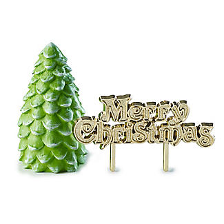 Christmas Tree and Merry Christmas Resin Cake Toppers