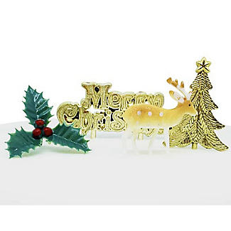 Golden Reindeer Cake Decorating Kit