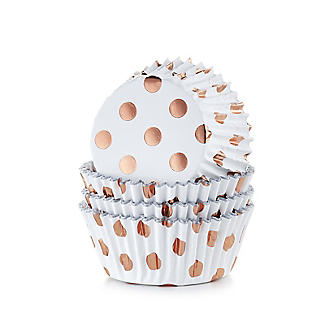 30 PME Rose Gold Polka Dot Foil Lined Cupcake Cases  alt image 1