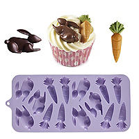 Silicone Easter Bunnies and Carrots Chocolate Mould