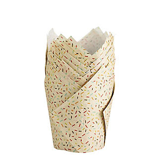 24 Speckled Craft Paper Greaseproof Tulip Shaped Muffin Cases