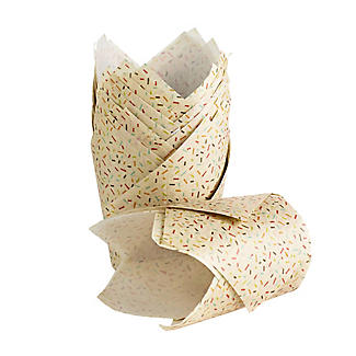 24 Speckled Craft Paper Greaseproof Tulip Shaped Muffin Cases alt image 2