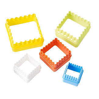 5 Double-Sided Square Cookie Cutters – Straight and Fluted Edges
