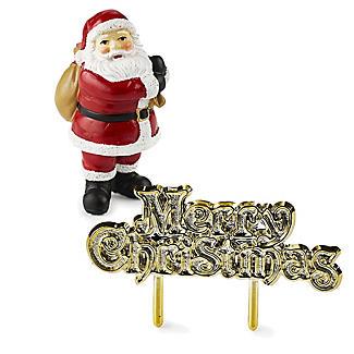 2pc Luxury Boxed Traditional Santa Cake Topper Set