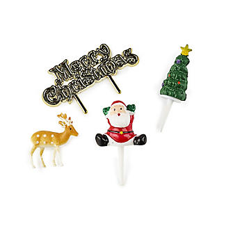 4pc Traditional Christmas Cake Topper Set