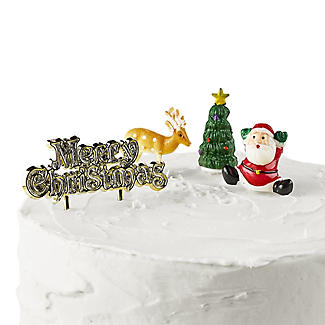 4pc Traditional Christmas Cake Topper Set alt image 2