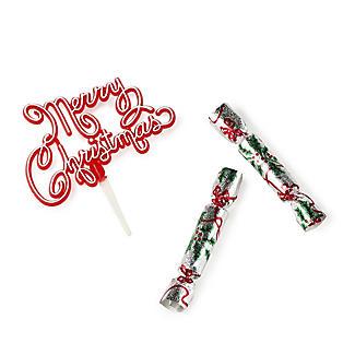 3pc Christmas Cracker Cake Topper Set
