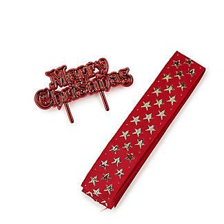 2pc Christmas Shimmering Stars Cake Ribbon Set
