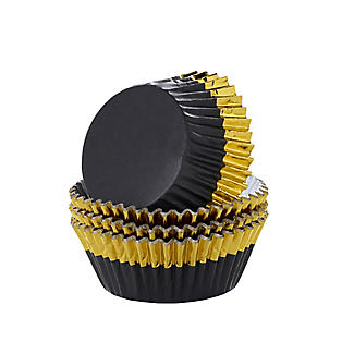 30 PME Black with Gold Trim Foil Lined Cupcake Cases