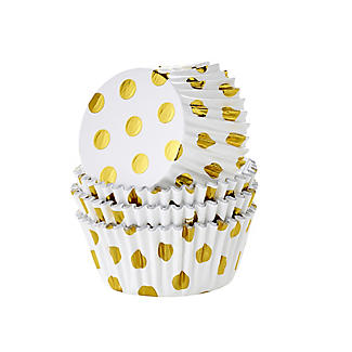 30 PME Gold Polka Dot Foil Lined Cupcake Cases