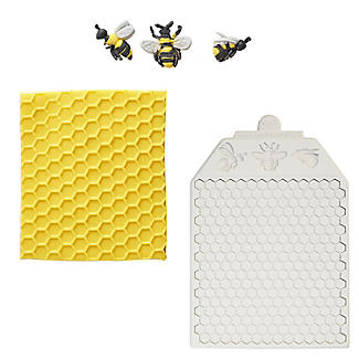 Katy Sue Designs Honeycomb and Bees Silicone Icing Mould