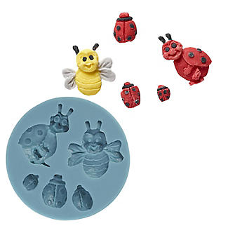 Lakeland Ladybird and Bee Cake Toppers Silicone Icing Mould