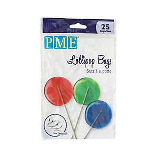 25 Clear Lollipop Bags with Silver Ties