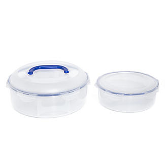 Set of 2 LocknLock Clear Round Cake Carriers