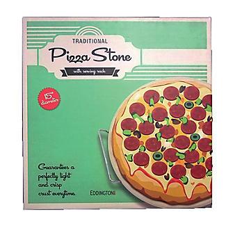 Eddingtons Ceramic Round Pizza and Baking Stone with Serving Rack 38cm Dia. alt image 2