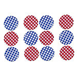 6 Red & 6 Blue Gingham Twist Off Jam Jar Lids