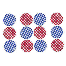 Drehverschlüsse, 6 rot und 6 blau karierte