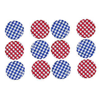 6 Red & 6 Blue Gingham Twist Off Jam Jar Lids