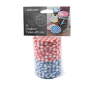 6 Red & 6 Blue Gingham Twist Off Jam Jar Lids alt image 2