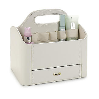 Cream Faux Leather Make Up Storage Caddy alt image 1
