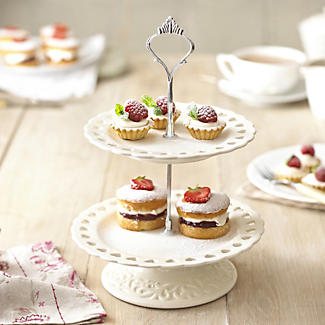 Amore Ceramic Two Tier Cake Stand