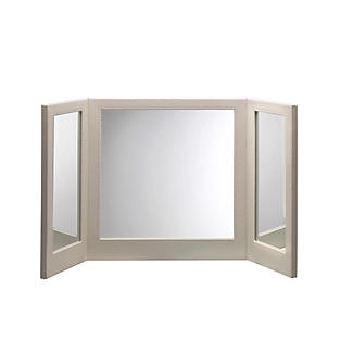 Faux Leather Folding Vanity Mirror - Cream