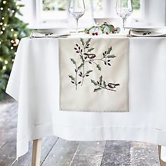 White Linen-Look Tablecloth alt image 2