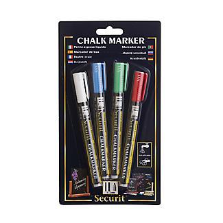 4 Securit Liquid Chalk Notice Board Marker Pens - Coloured