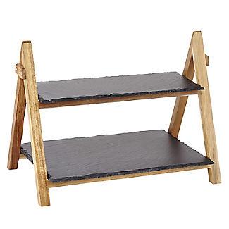 Artesa 2stöckiger Servierständer aus Holz mit Schieferplatten, faltbar alt image 3