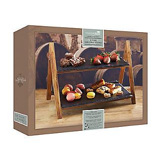 Artesa 2stöckiger Servierständer aus Holz mit Schieferplatten, faltbar alt image 4
