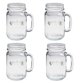 4 Clear Kilner Drinking Jars With Handles