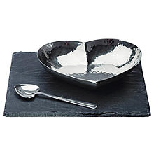 Just Slate Heart Motif Dish and Spoon Set