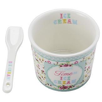 Set mit Dessertschale und Löffel für Eis aus Porzellan, grün alt image 2