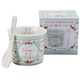 Porcelain Ice Cream Bowl & Spoon Green alt image 4