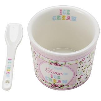 Set mit Dessertschale und Löffel für Eis aus Porzellan, pink alt image 2