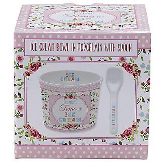 Set mit Dessertschale und Löffel für Eis aus Porzellan, pink alt image 3