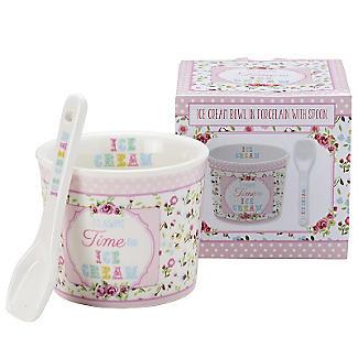 Set mit Dessertschale und Löffel für Eis aus Porzellan, pink alt image 4
