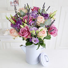 Sweet Lavender Bouquet with Coffee Pot with Free Express Delivery