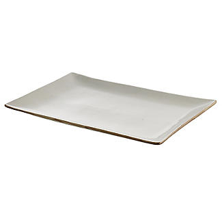 Naturals Rectangular Ceramic Serving Platter - Cream Speckle alt image 2