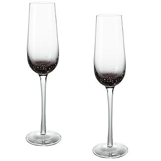 Bubble Glass Prosecco Flutes - Set of 2