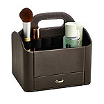 Brown Faux Leather Make Up Storage Caddy
