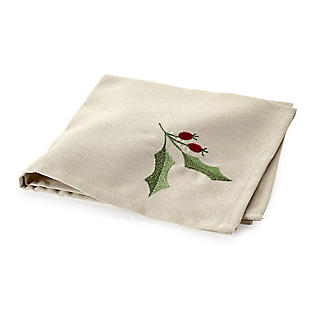 Festive Linen-Look Holly Napkins Pack of 4