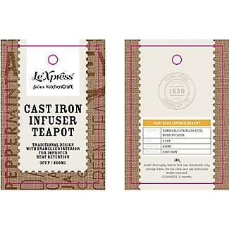 Le'Xpress Cast Iron Infuser Teapot Black 600ml alt image 2
