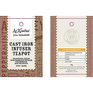 Le'Xpress Cast Iron Infuser Teapot Red 600ml alt image 2