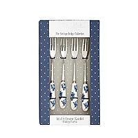 Katie Alice Vintage Indigo Set of 4 Pastry Forks