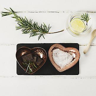 Just Slate Hammered Copper and Slate Heart-Shaped Serving Set alt image 2