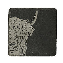 Just Slate Etched Slate Highland Cow Coasters Set of 4